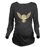 Flying Barn Owl Long Sleeve Maternity T-Shirt