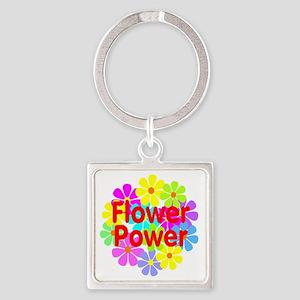 Flower Power Square Keychain