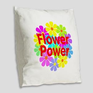 Flower Power Burlap Throw Pillow