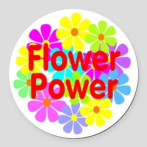 Flower Power Round Car Magnet