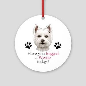 Westie Hug Ornament (Round)