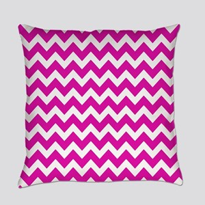 Pink and White Zigzag Stripes Everyday Pillow