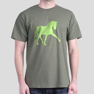 SIdepass Dressage Horse Lime Green Dark T-Shirt