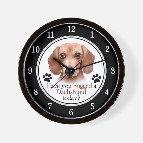 Dachshund Hug Wall Clock