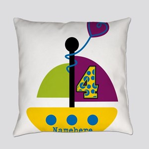 Personalized 4th Birthday Sailboat Everyday Pillow