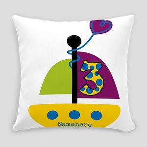 Custom Sailboat 3rd Birthday Everyday Pillow