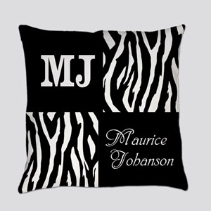 Black And White Animal Print Monogram Everyday Pil