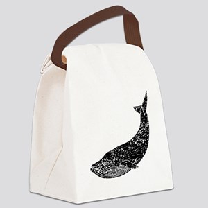Distressed Blue Whale Silhouette Canvas Lunch Bag