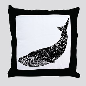 Distressed Blue Whale Silhouette Throw Pillow