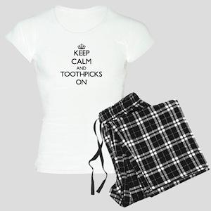 Keep Calm and Toothpicks ON Women's Light Pajamas