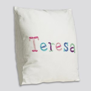 Teresa Princess Balloons Burlap Throw Pillow