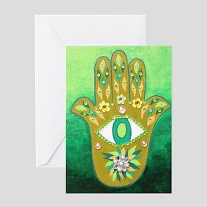 Green Hamsa Greeting Card