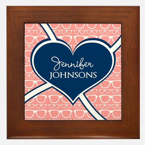 Coral Glasses Pattern With Heart Perso Framed Tile