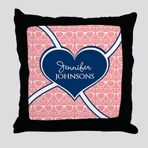 Coral Glasses Pattern With Heart Pers Throw Pillow