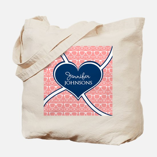Coral Glasses Pattern With Heart Personal Tote Bag