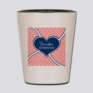 Coral Glasses Pattern With Heart Person Shot Glass