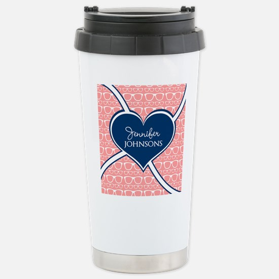 Coral Glasses Pattern W Stainless Steel Travel Mug