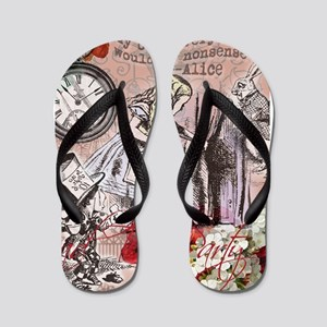 Alice in Wonderland Vintage Adventures Flip Flops