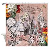Alice in wonderland white rabbit Shower Curtains