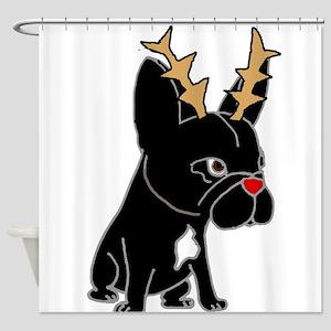 Funny French Bulldog Christmas Art Shower Curtain