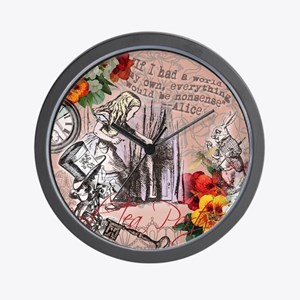 Alice in Wonderland Vintage Adventures Wall Clock