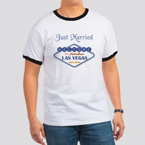 Just Married -Bride and Groom Ringer T
