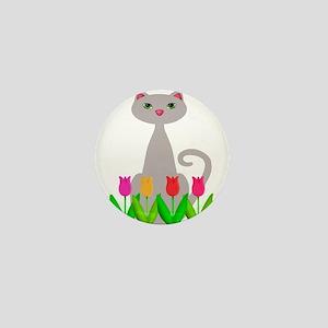 Gray Cat in Spring Tulip Flowers Mini Button