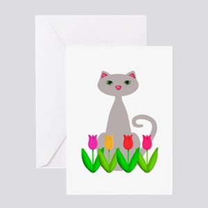 Gray Cat in Spring Tulip Flowers Greeting Cards
