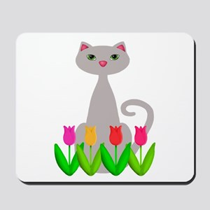 Gray Cat in Spring Tulip Flowers Mousepad