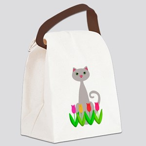Gray Cat in Spring Tulip Flowers Canvas Lunch Bag