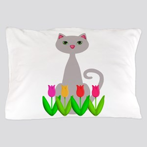 Gray Cat in Spring Tulip Flowers Pillow Case