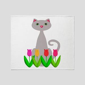 Gray Cat in Spring Tulip Flowers Throw Blanket