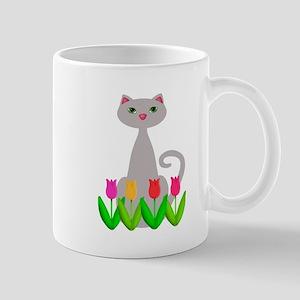 Gray Cat in Spring Tulip Flowers Mugs