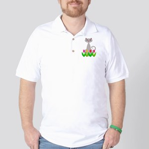 Gray Cat in Spring Tulip Flowers Golf Shirt