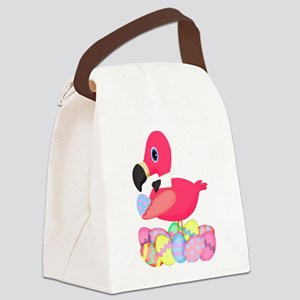 Pink Flamingo Easter Eggs Bowtie Canvas Lunch Bag