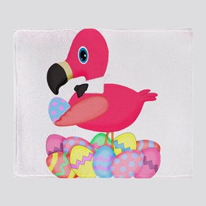 Pink Flamingo Easter Eggs Bowtie Throw Blanket