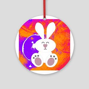 Bunny Rabbit Purple Orange Ornament (Round)