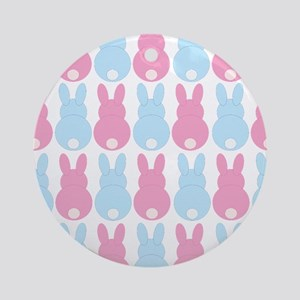 Pink and Blue Bunny Rabbits Ornament (Round)