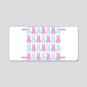Pink and Blue Bunny Rabbits Aluminum License Plate