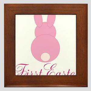First Easter Pink Bunny Framed Tile
