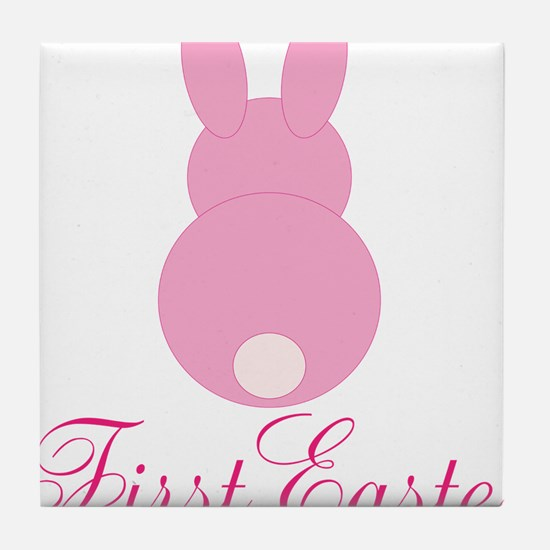 First Easter Pink Bunny Tile Coaster