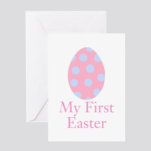 My First Easter Pink Egg Greeting Cards