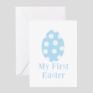 My First Easter - Blue Polka Dot Egg Greeting Card