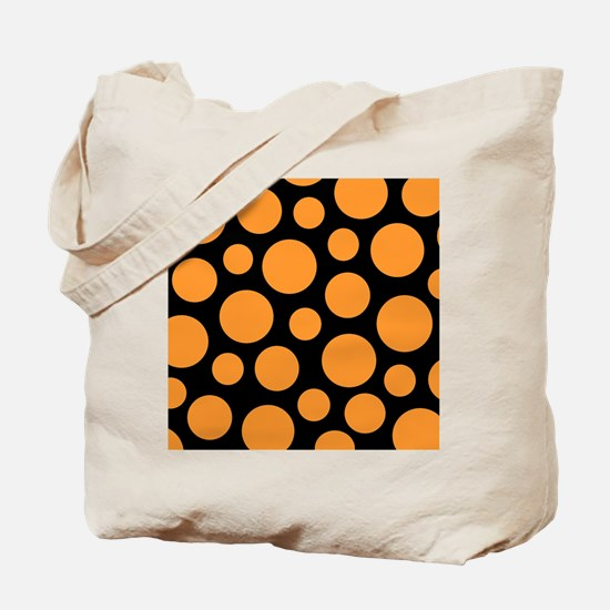Orange and Black Modern Dots Tote Bag