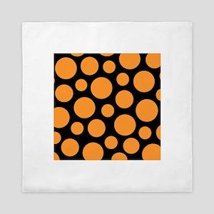Orange and Black Modern Dots Queen Duvet