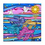 Siamese Betta Fish Tile Coaster