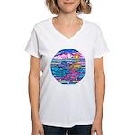 Siamese Betta Fish Women's V-Neck T-Shirt
