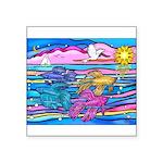 Siamese Betta Fish Square Sticker 3
