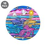 """Siamese Betta Fish 3.5"""" Button (10 Pack)"""