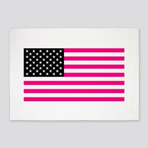pink american flag 5'x7'Area Rug